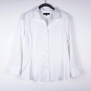 LAFAYETTE 148 Sz 12 Button Up Shirt White 3/4 Slv